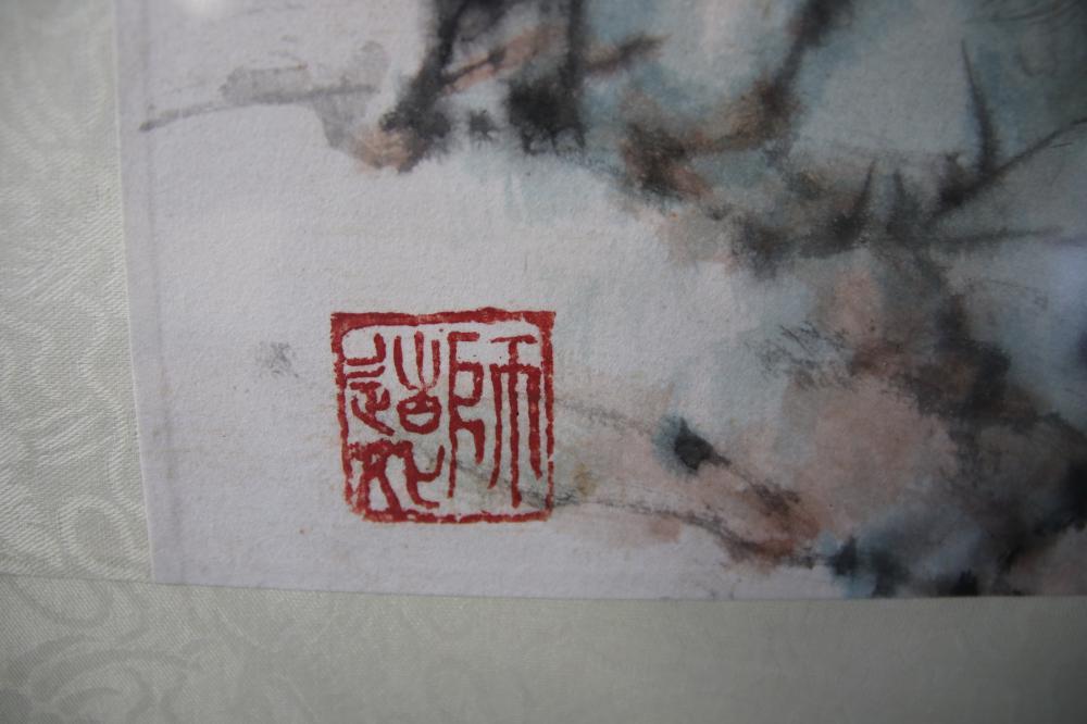 LARGE ORIGINAL ORIENTAL SIGNED DOG PAINTING 48CM W X 66CM & ORIENTAL SIGNED ROYAL SELANGOR FRAMED HORSE PICTURE 21CM X 28
