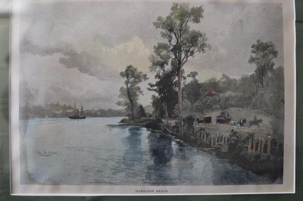 ORIGINAL WOOD ENGRAVING - HAMILTON REACH- C. 1886 BRISBANE