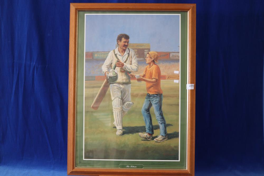 FRAMED LIMITED EDITION JOHN CORNWELL PRINT THE TRIBUTE NO 63 OF 1500, ALLAN BORDER