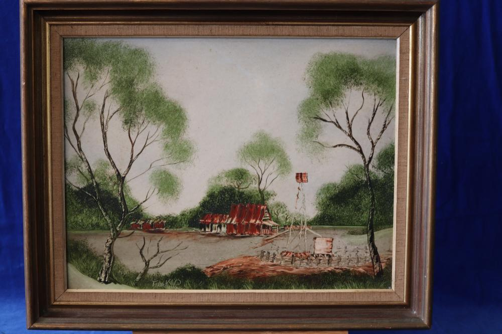 SYDNEY OIL PAINTING SIGNED - EARLY MORING WALK- PADDINGTON - W WILLIAMS LISTED ARTIST & OIL PAINTING - COUNTRY SCENE SIGNED B. WATT & FRAMED SIGNED FRANK LEWIS