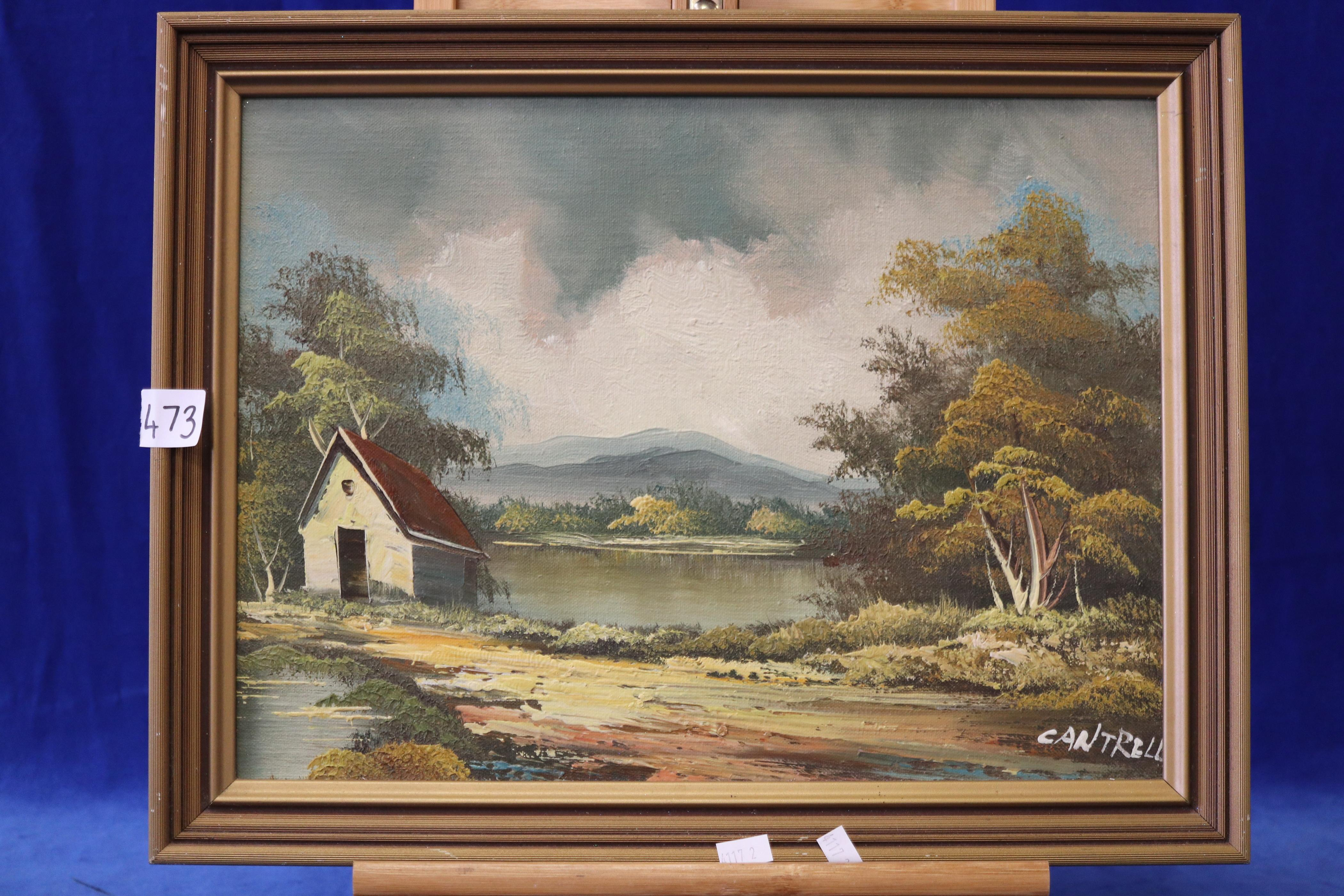 OIL PAINTING, SIGNED CANTRELL, LANDSCAPE SCENE