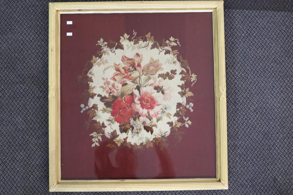 2 X VICTORIAN PERIOD FRAMED TAPESTRIES, ROSE CENTRE PANEL WITH MAROON BACKGROUND, IN GOLD PAINTED FRAMES, MEASURES 60CM X 65CM H & 70CM X 70CM