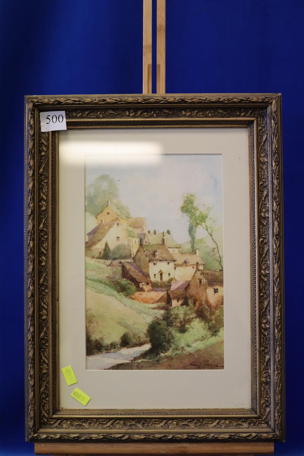 WATERCOLOUR OF ENGLISH COTTAGES BY DOWNINE