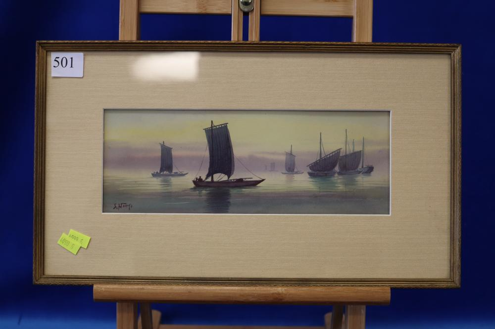 JAPANESE WATERCOLOUR OF BOATS IN HARBOUR