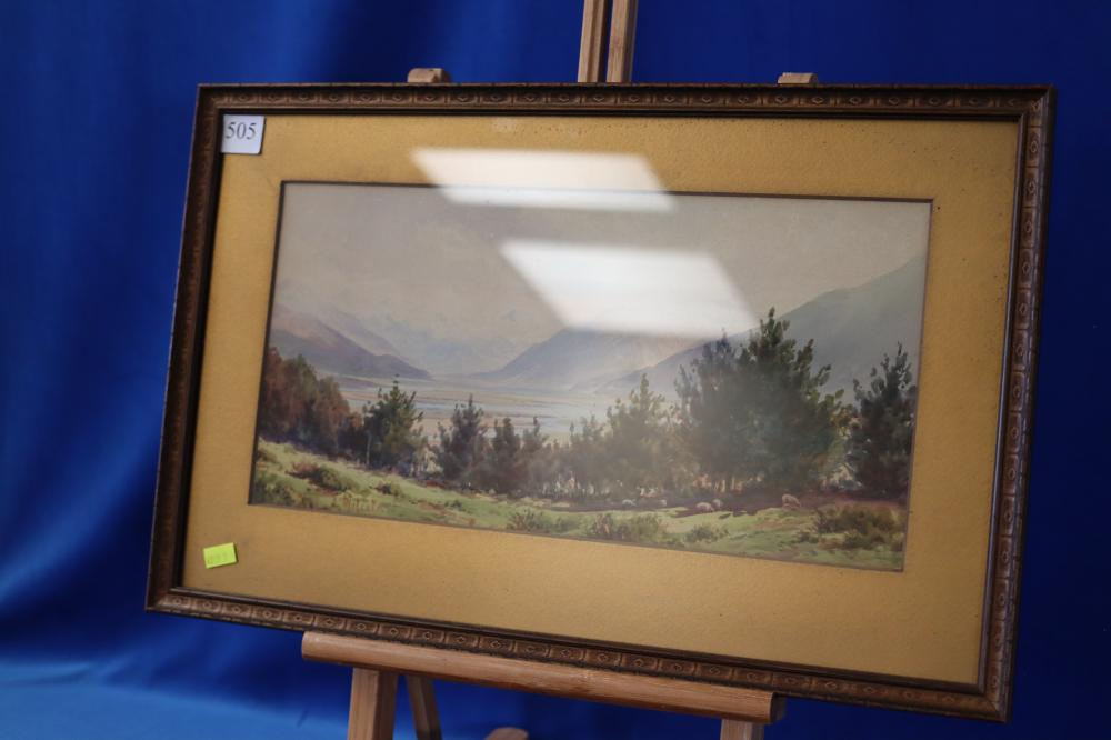 J MALCOM NZ WATERCOLOUR OF MOUTAINS AND LAKE SCENE