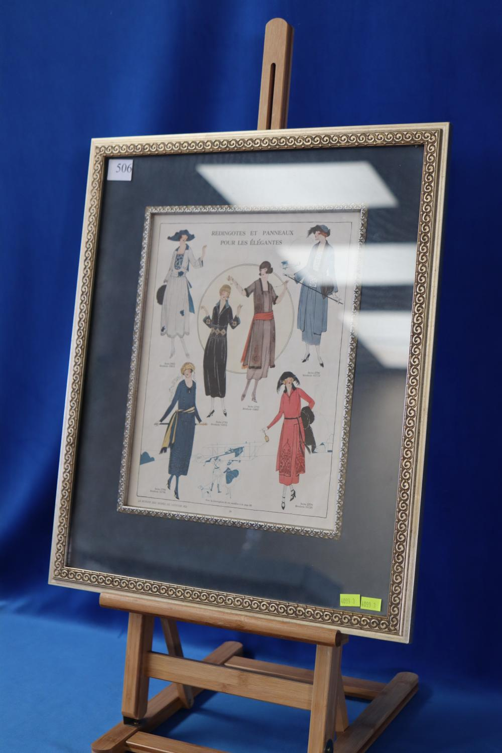FRAMED COLOUR FRENCH FASHION PRINT 1921