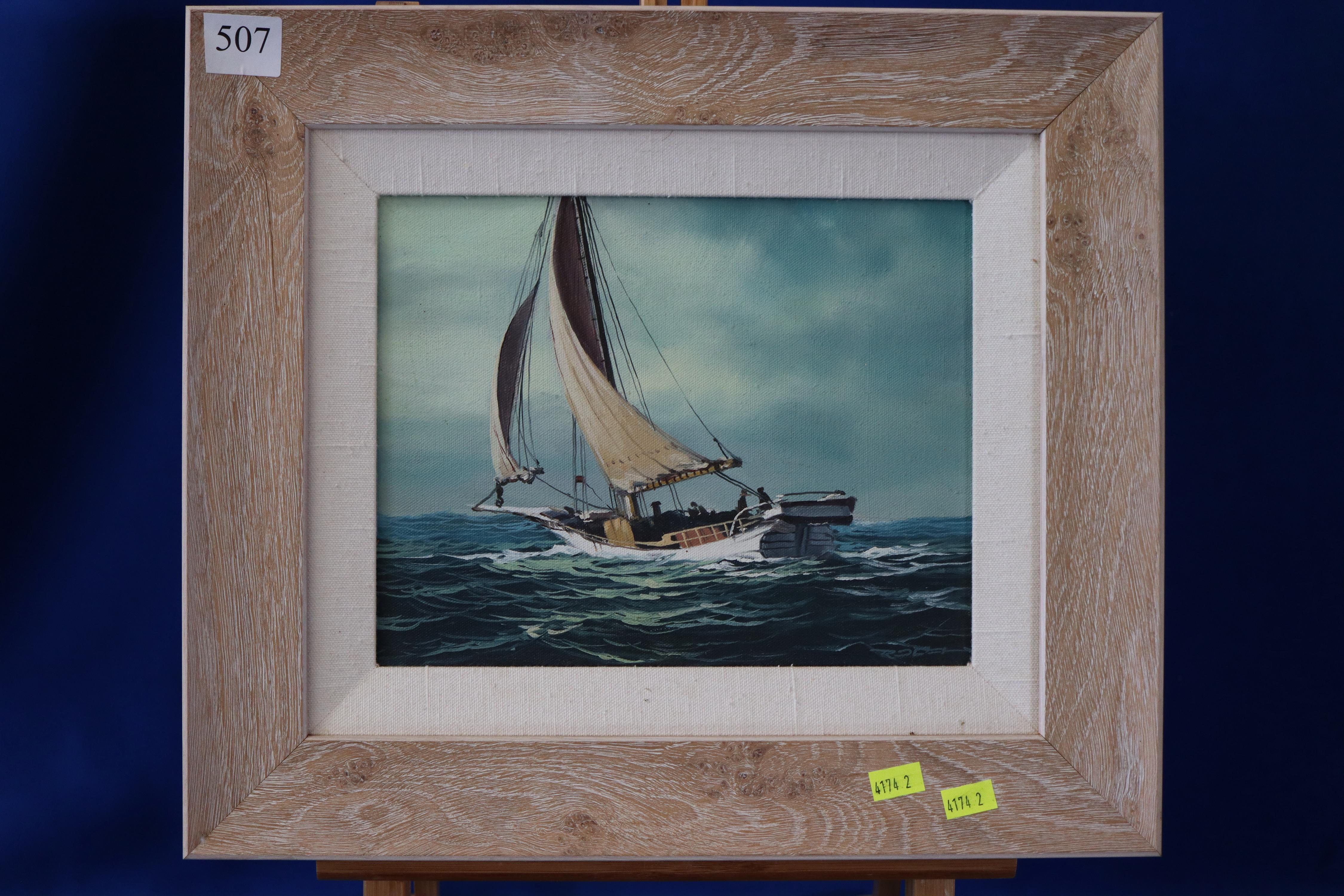 SMALL FRAMED OIL ON CANVAS OF A SAILBOAT BY ARTIST ROCS