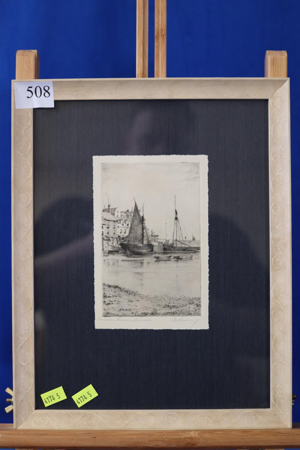 ORIGINAL ETCHING OF BRIXHAM HARBOUR DEVONSHIRE BY A SIMES