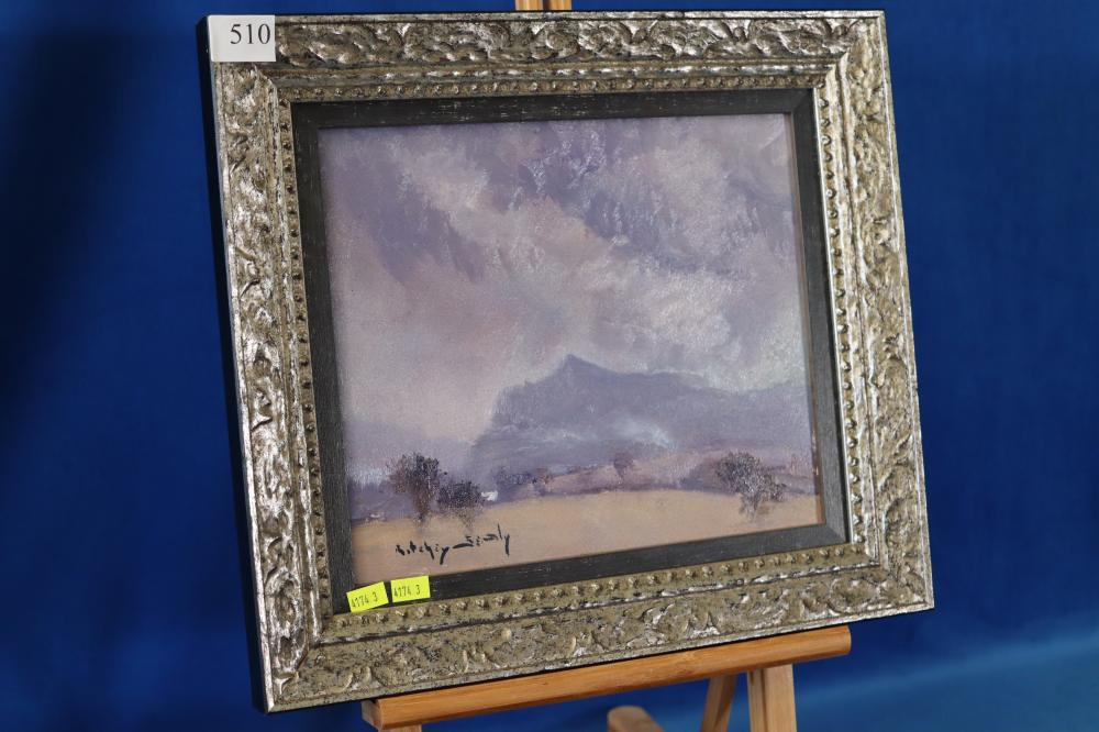 ORIGINAL OIL ON BOARD OF STORM BREWING CAPERTREE VALLEY NSW BY RITCHY SEALY