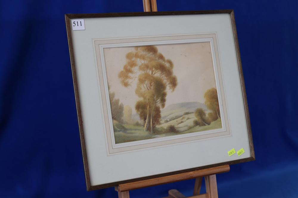 TREE AND MOUNTAIN WATERCOLOUR BY ANSELL
