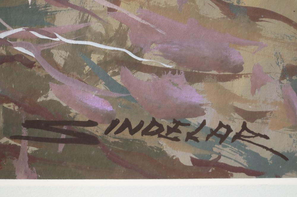 JOHN SINEDLAR APPROACHING TWILIGHT OILON CARD 42 CM X 30 CM