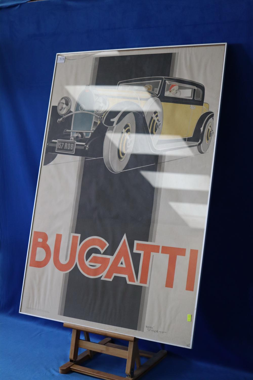 SIGNED FRENCH POSTER OF BUGATTI, BY RENE VINCENT, SIGNED BOTTOM RIGHT, CRACK TO GLASS
