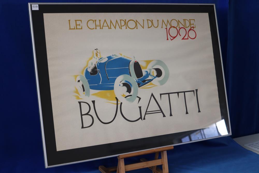 VINTAGE 1926 BUGATTI POSTER, 1984 ERNEST DRYDON COLLECTION COPY,