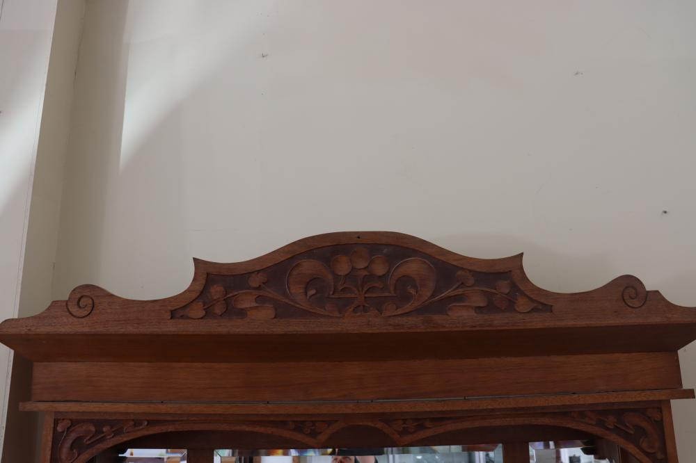 LARGE MAPLE MIRROR BACK SIDEBOARD, LEADLIGHT PANELS, CARVED PANELS