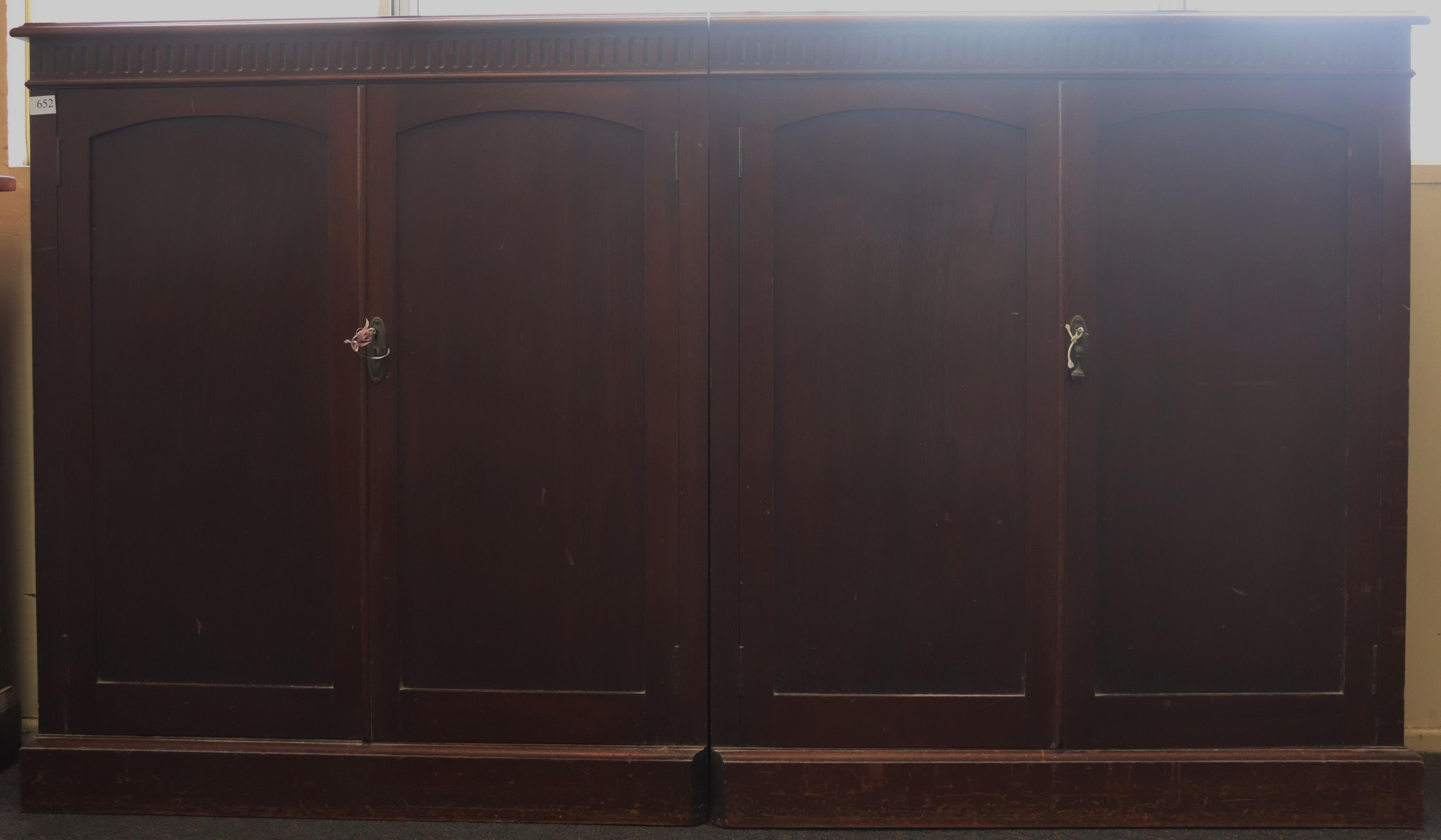 PAIR OF DWARF BOOKCASES, CLOSED BOOK CABINETS MODIFIED TO JOIN TOGETHER