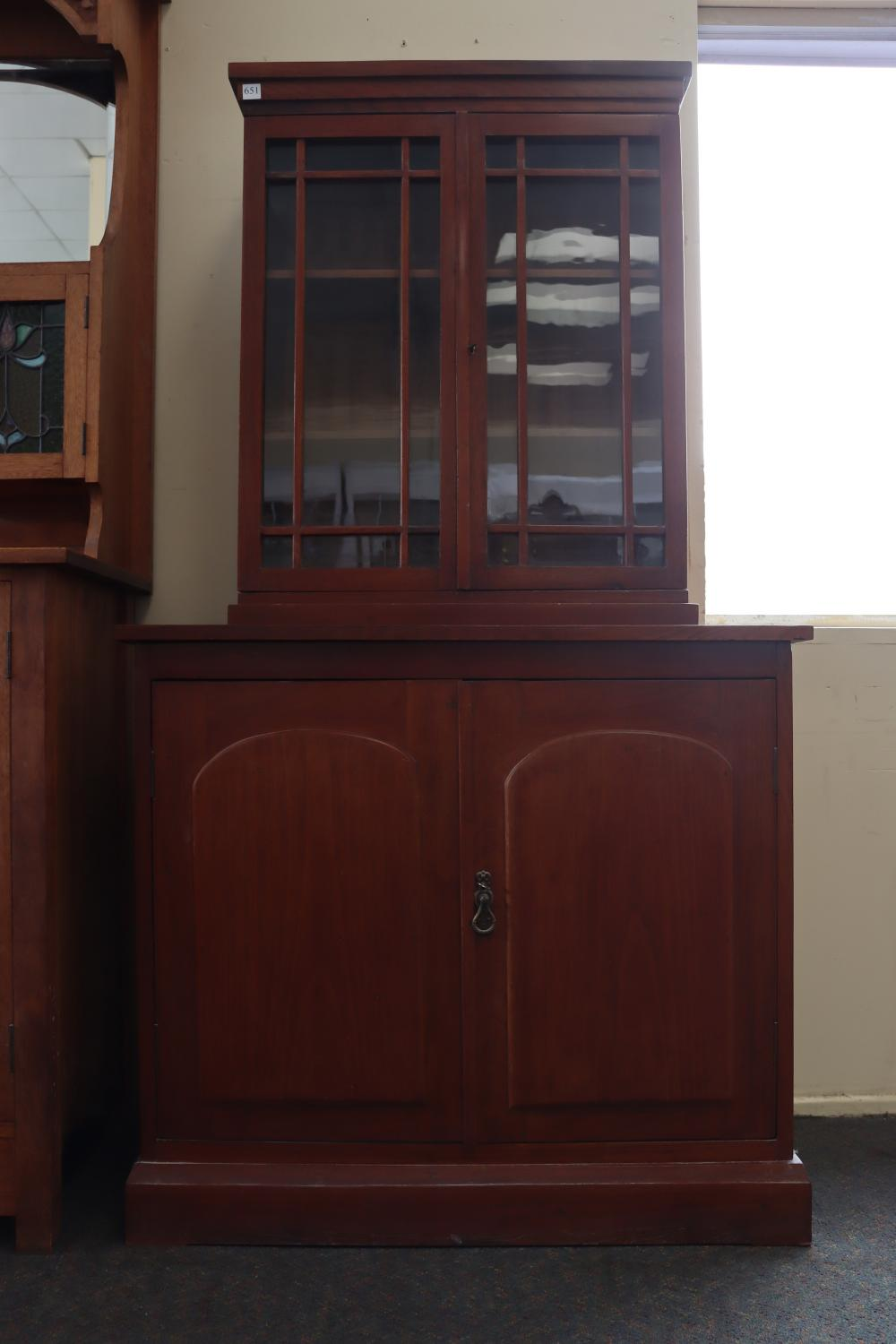 COLONIAL CEDAR/PINE CUPBOARD BASE WITH SMALL DISPLAY CASE ON TOP