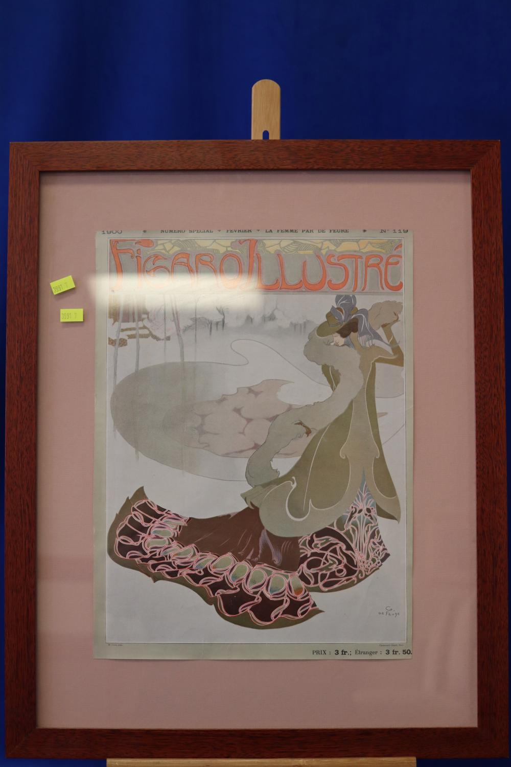FRAMED FRENCH PRINT & ANOTHER LARGE PRINT