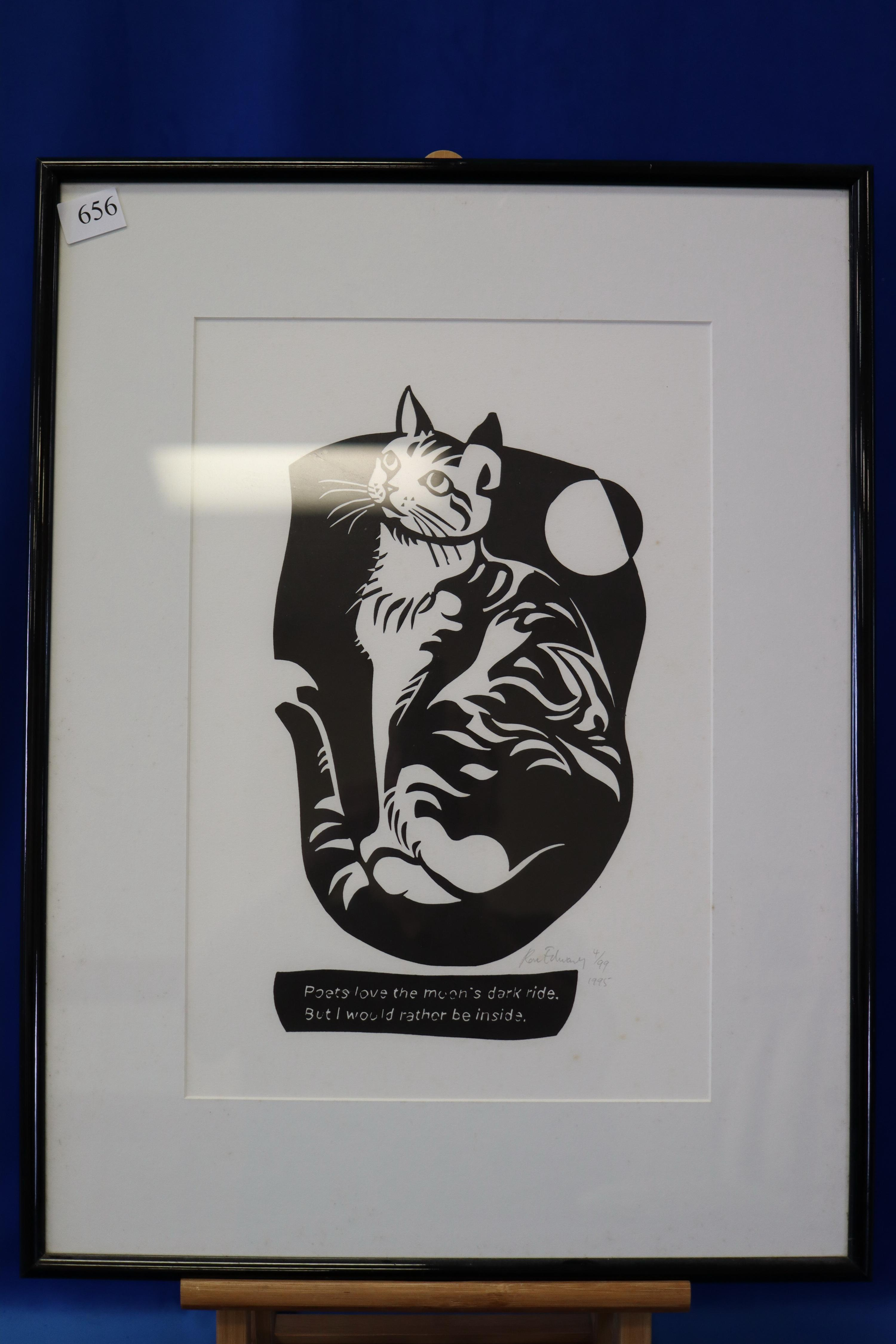 FRAMED BLACK AND WHITE CAT PICTURE