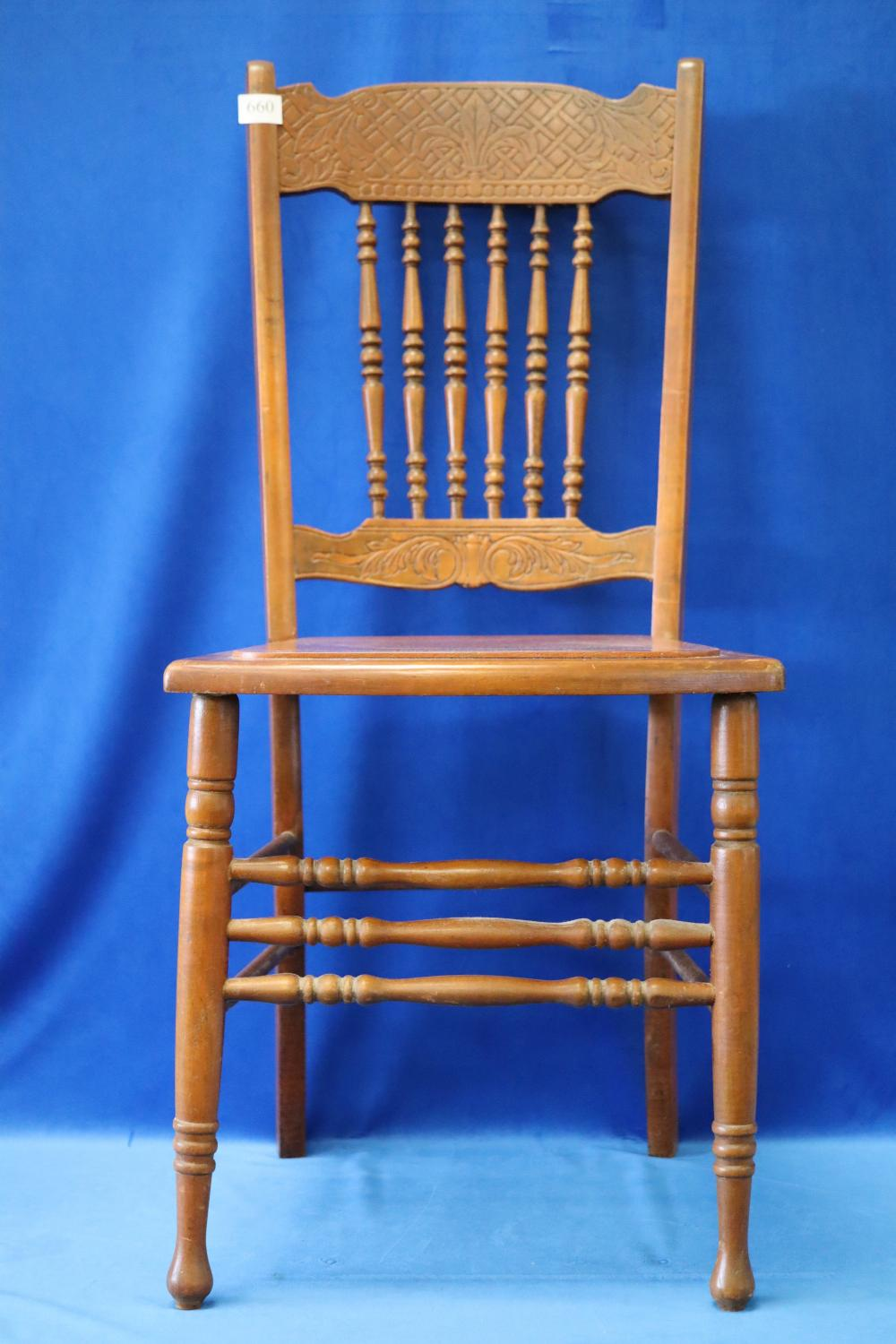 SET OF 4 SPINDLE BACK CHAIRS