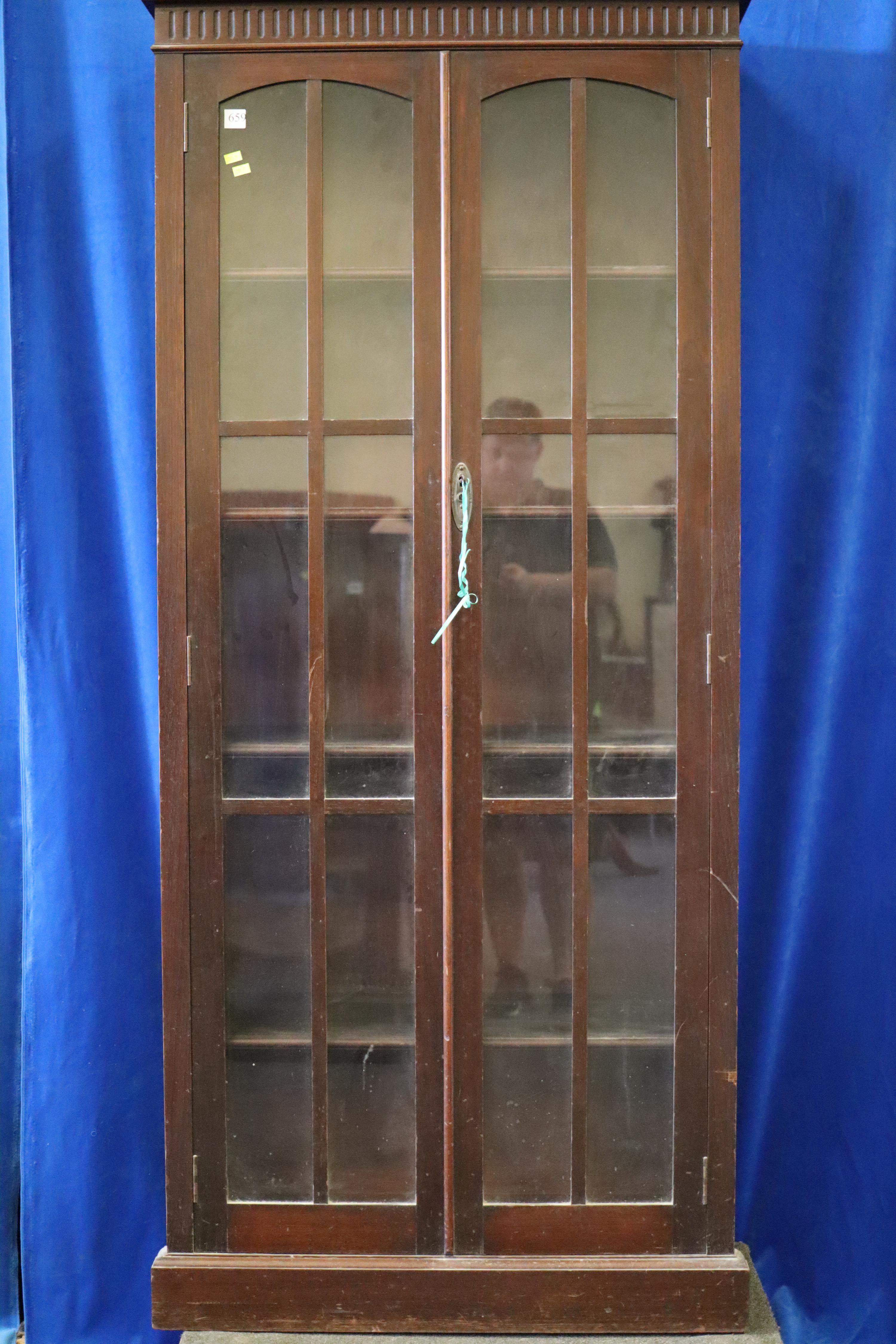 TALL 2 DOOR GLASS FRONT BOOKSHELF/DISPLAY CABINET