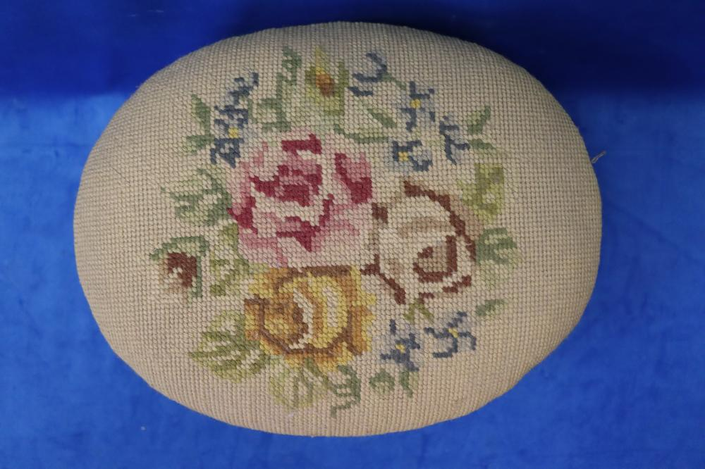 SMALL FRENCH STYLE NEEDLEPOINT FOOTSTOOL