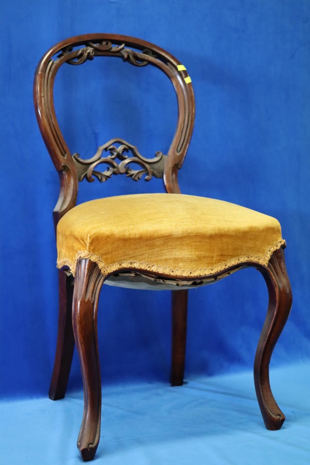 SET OF 6 BALLOON BACK DINING CHAIRS WITH CARVED FEATURES( 2 ARE A DIFFERENT DESIGN
