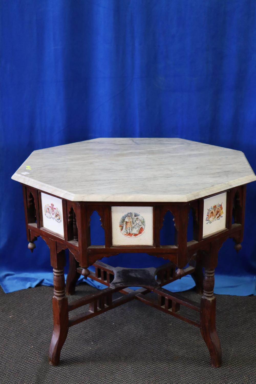 EDWARDIAN HEXAGONAL SHAPED OCCASIONAL TABLE WITH ROYAL TILE INSERTS AND MARBLE TOP