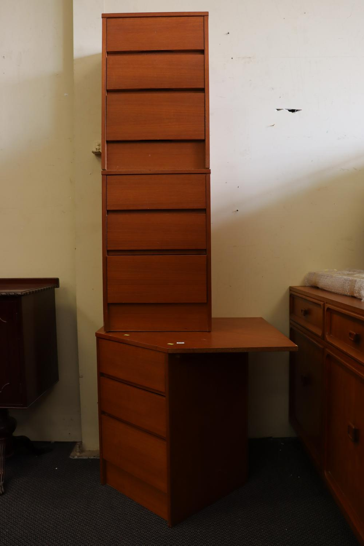 TEAK MID CENTURY CORNER CABINET & PAIR OF 3 DRAWER BEDSIDES