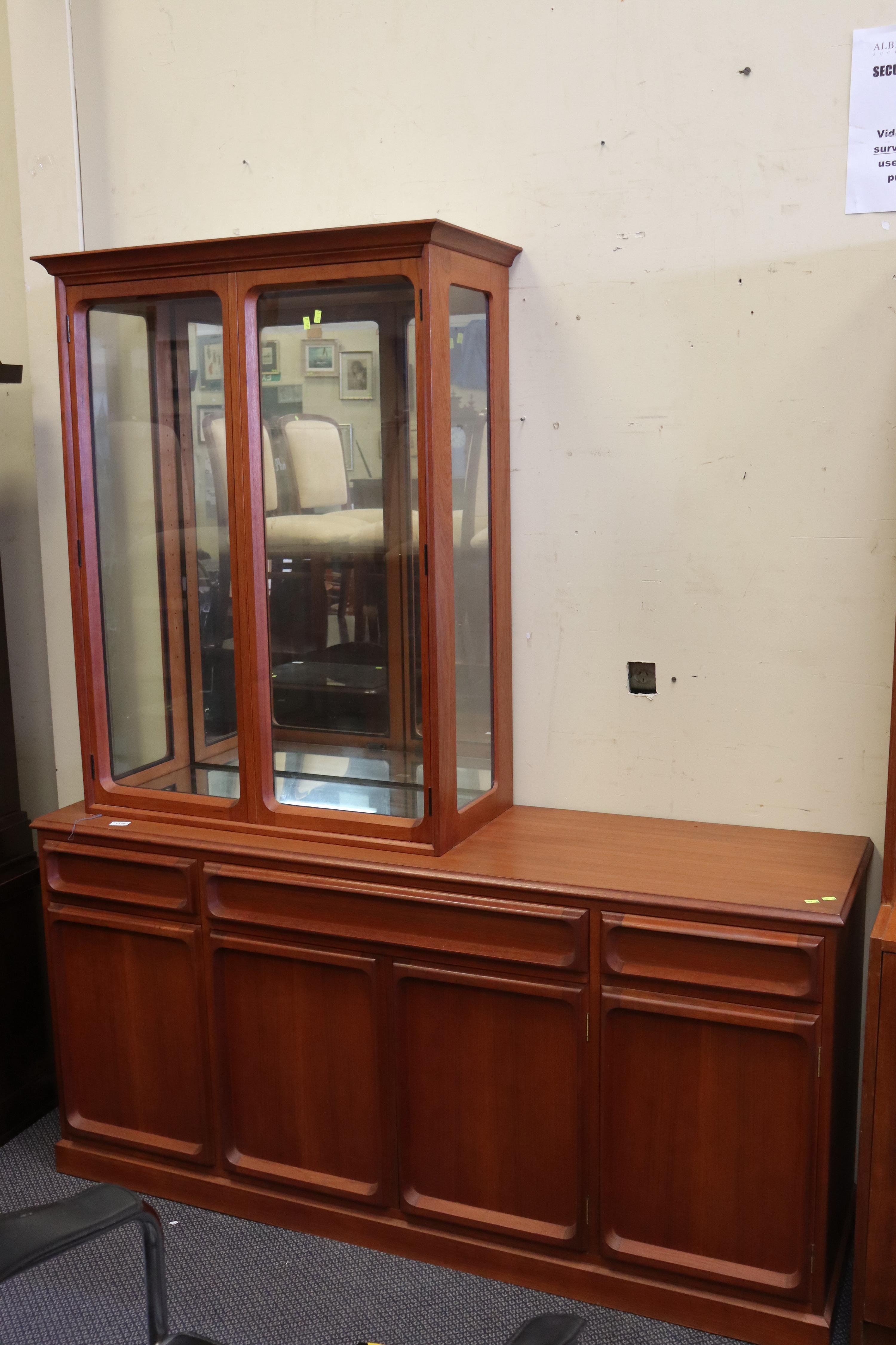 MID CENTURY TEAK WALL UNIT CHISWELL WITH REMOVABLE GLASS TOP CABINET