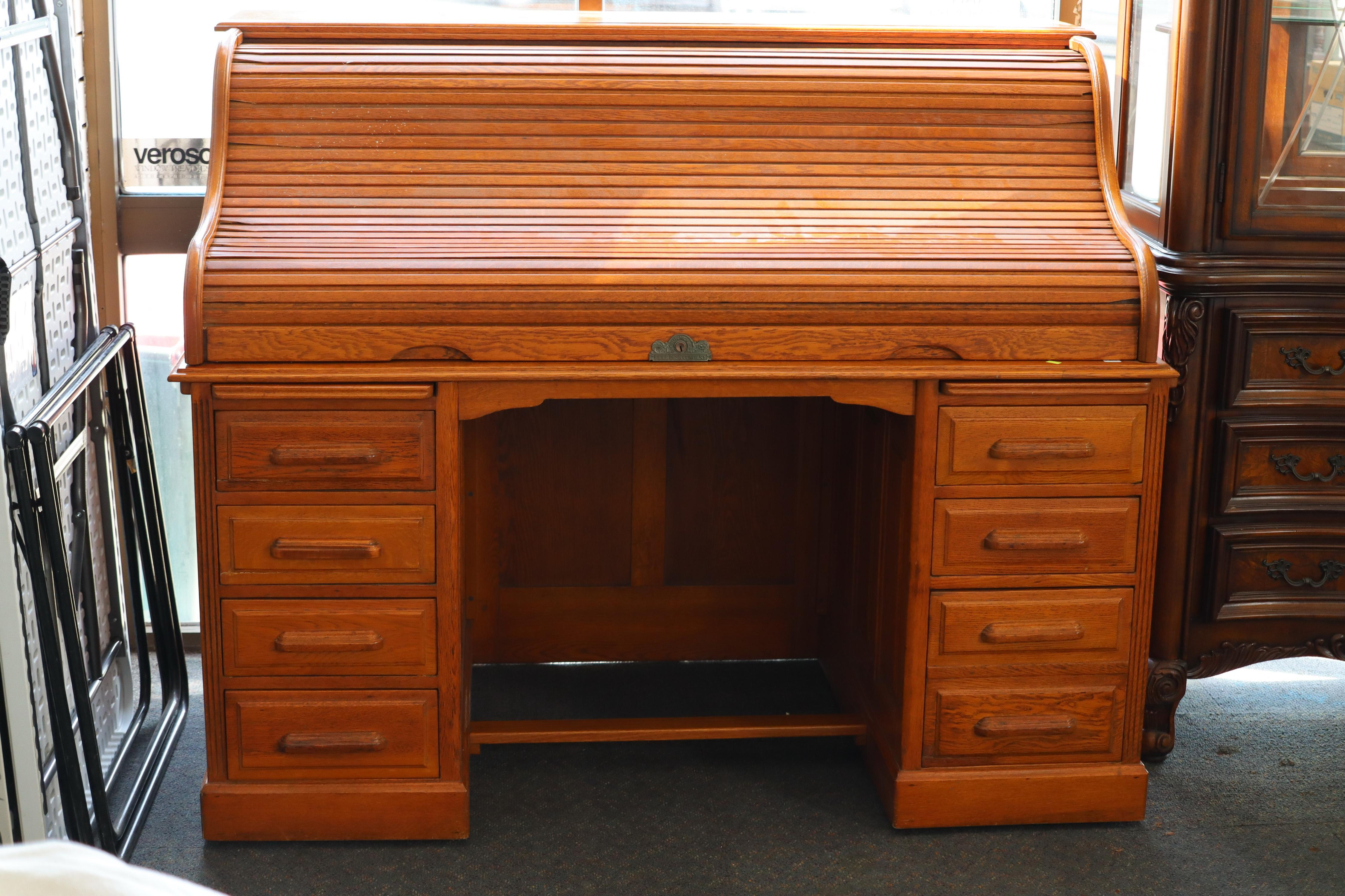 LARGE OAK ROLL TOP DESK, FEIGE USA, FITTED INTERIORS, 8 DRAWERS, FOLD OUT SIDE PANELS, ROLL NEEDS ATTENTION