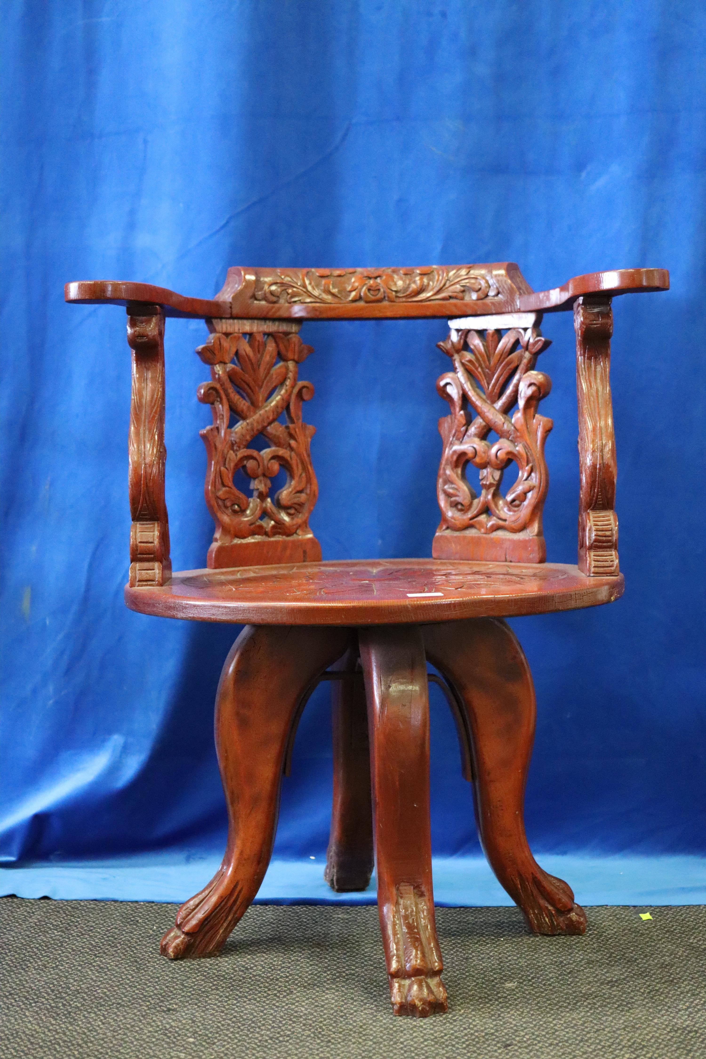 VICTORIAN HEAVILY CARVED OAK DESK CHAIR