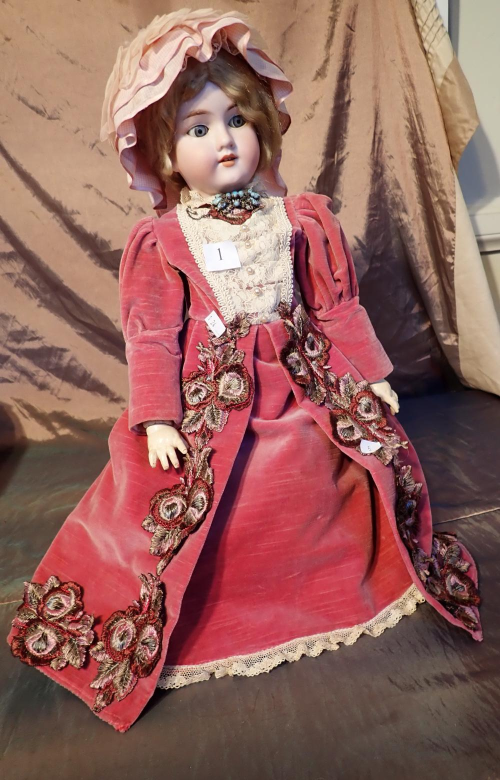 MADE IN GERMANY AM 390 DOLL MARKED A7M - OVERALL GOOD CONDITION, NICELY DRESSED IN VELVET DRESS WITH EMBROIDERY, WITH PANTALOONS UNDERNEATH, SOCKS & SHOES