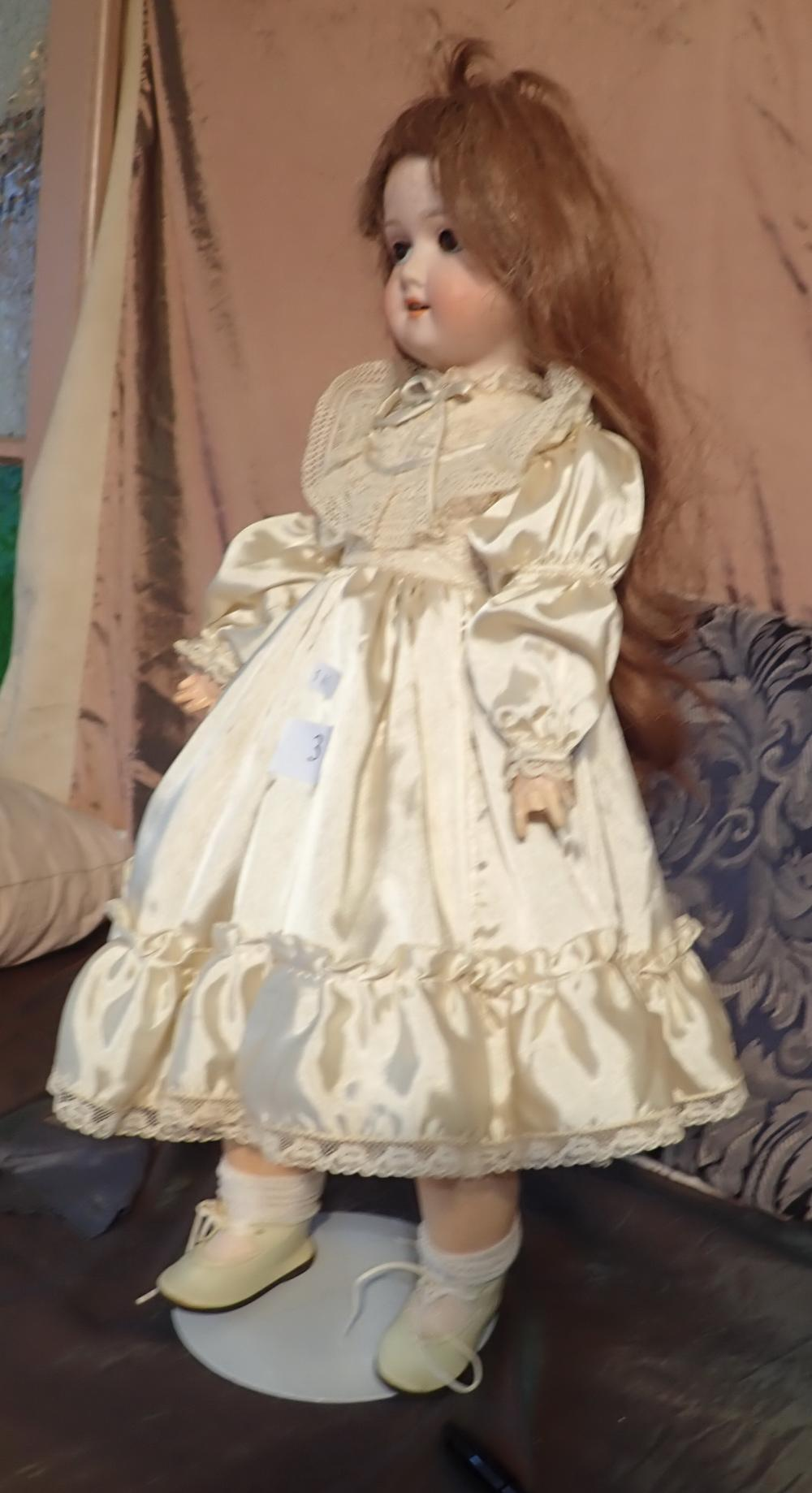 """21"""" SCHOENAU HOOFMEISTER DOLL MARKED 1909 - 3 1/2 GERMANY - WITH SILK DRESS AND PANTALOONS - 1 FINGER MISSING ON LEFT HAND - BODY BEEN REPAINTED IN SPOTS"""
