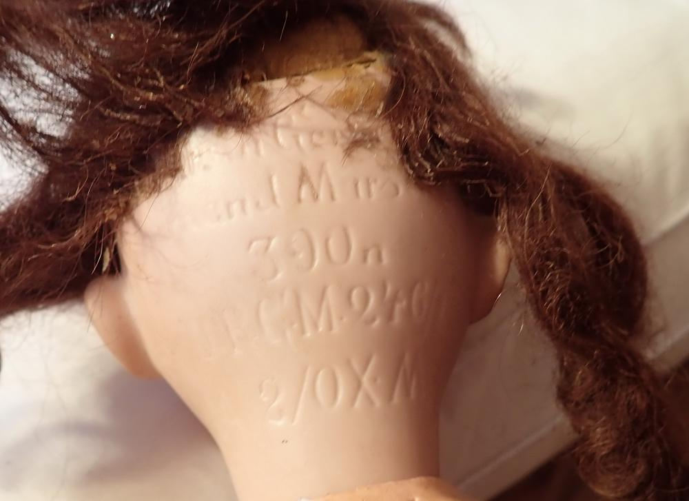 AM DOLL MARKED DRGM246/1 M/OX/M - NEEDS RESTRINGING , LINEN DRESS WITH PANTALOONS - WEAR ON JOINTS