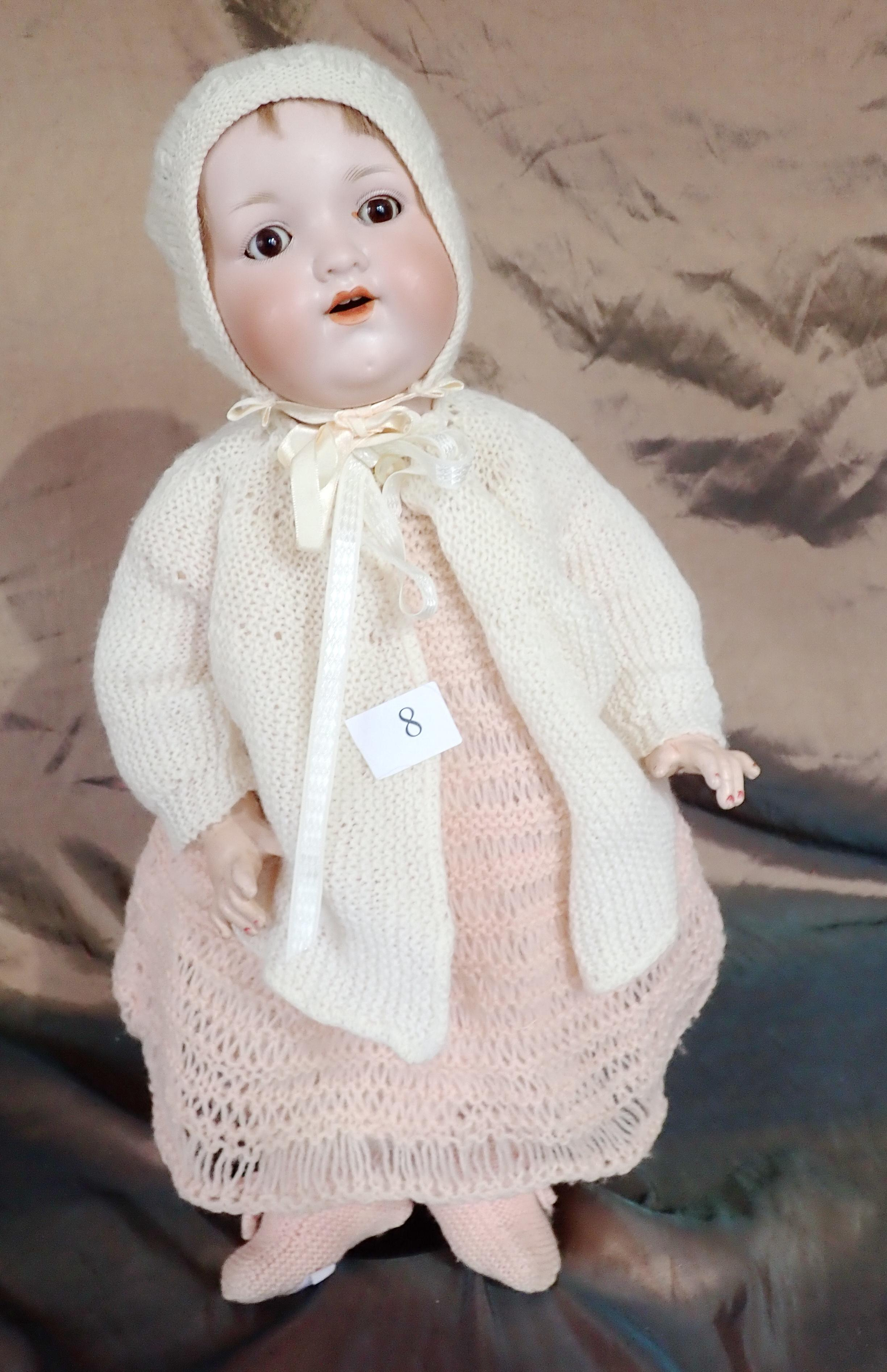 "18 "" AM DOLL MARKED 990 A9M KNITTED DRESS AND PANTALOONS - ORIGINAL HAIR IN POOR CONDITION"