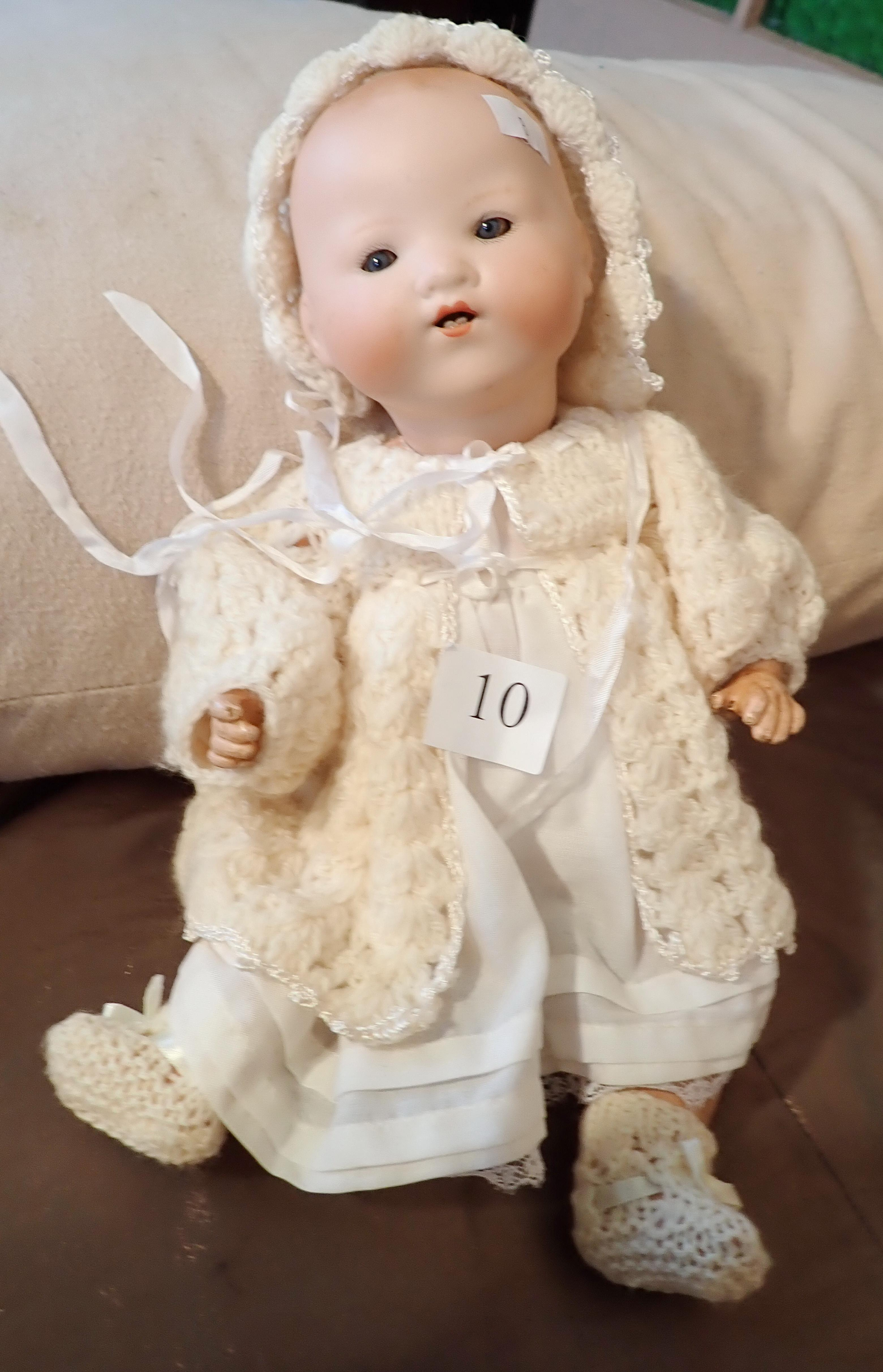 "11"" AM DOLL MARKED 51 IN CROCHETED DRESS, PETTICOAT & PANTALOONS, NEED RESTRINGING - BODY REPAINTED"