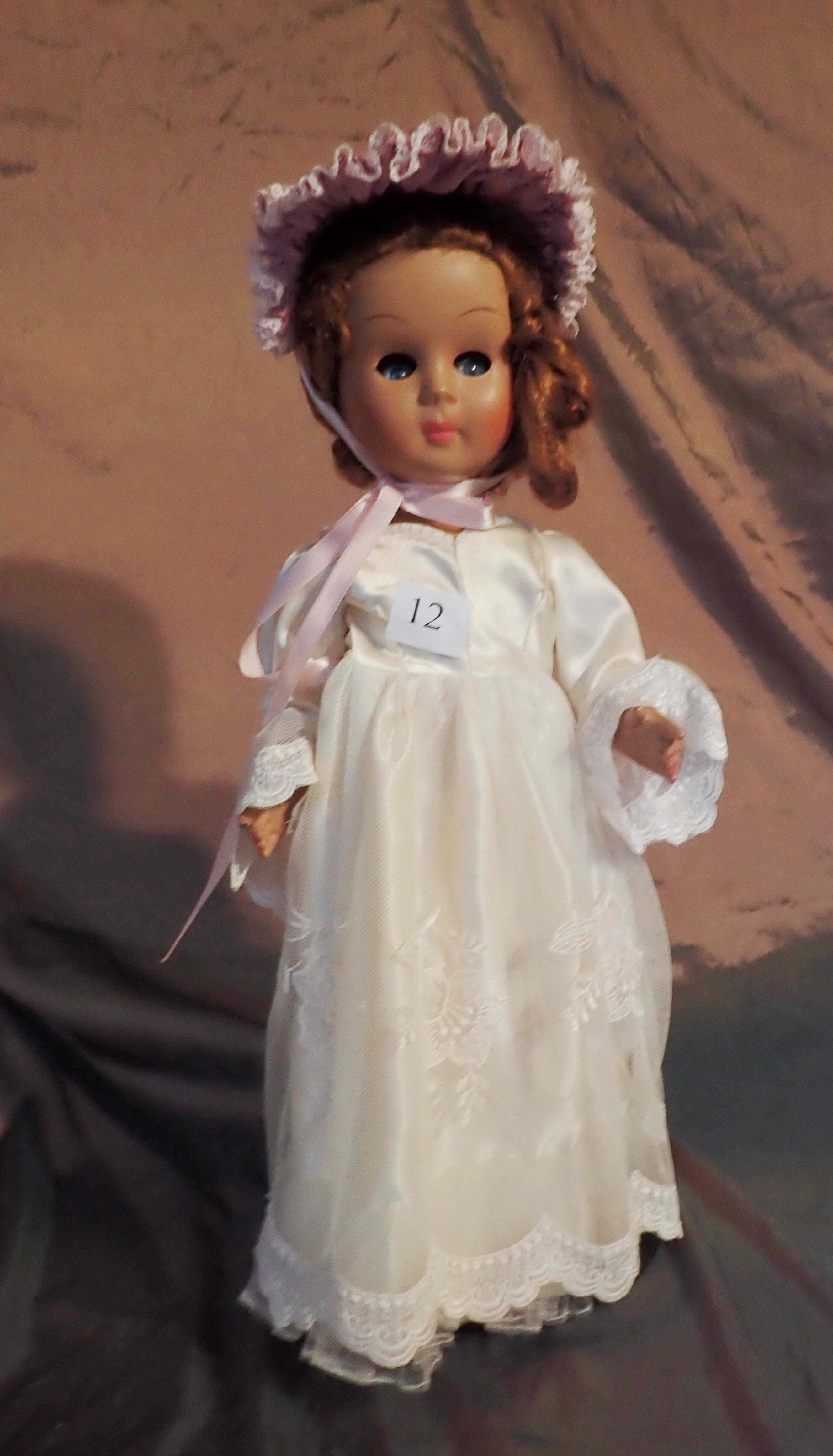 """17"""" VINTAGE ITALIAN 1950S DOLL MARKED ATHENA PIACENZA TYPE 40 WITH VOICE BOX TO THE FRONT IN WEDDING DRESS AND HAT, 2 MARKS ON NECK"""