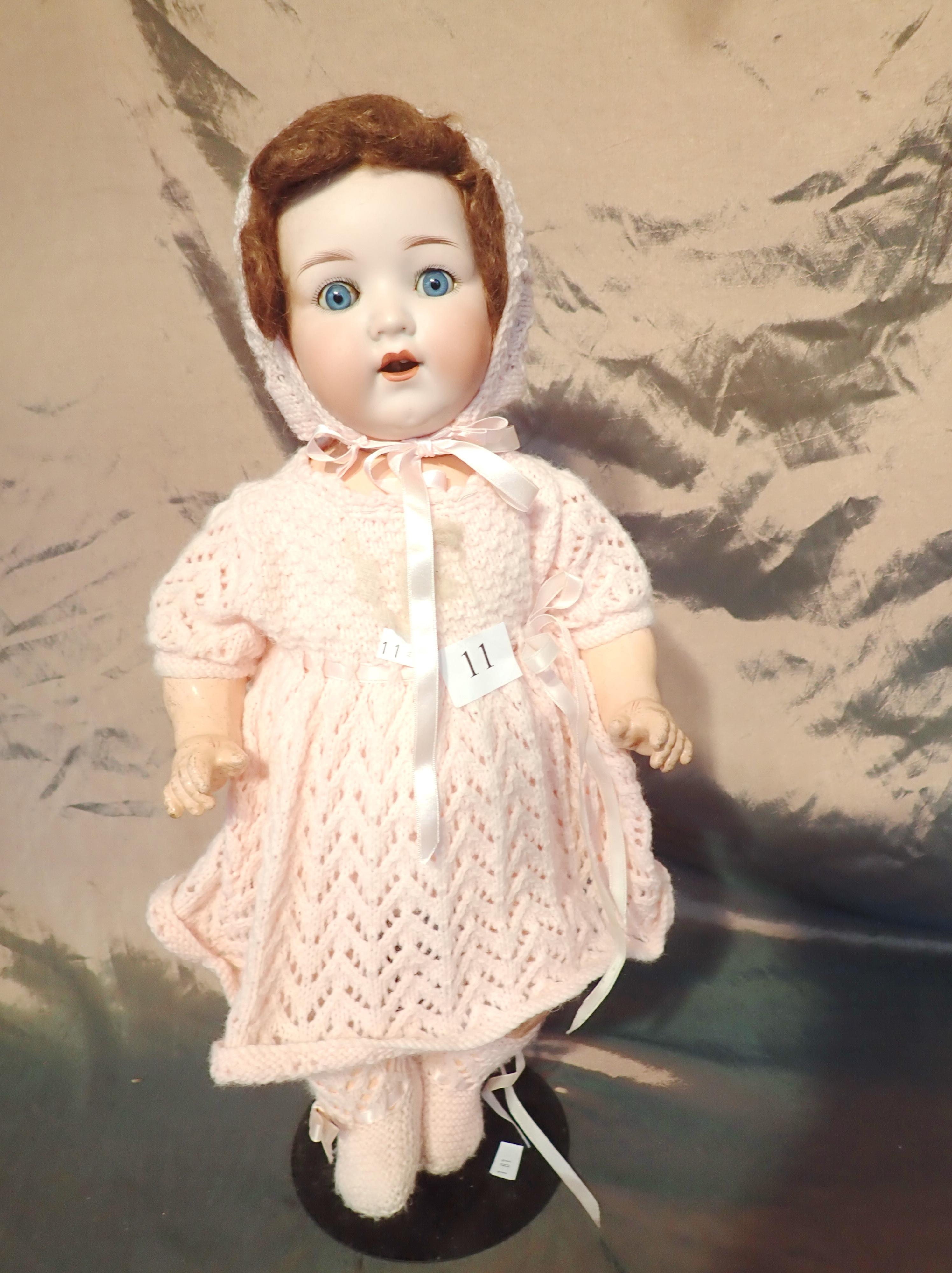 "18"" AM GERMAN DOLL MARKED 995A6M DAMAGE TO ONE TOOTH, KNITTED DRESS AND PANTALOONS - FAULT TO ARM SOCKET"