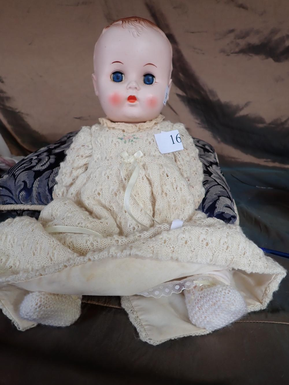 "VINTAGE RODDY HARD PLASTIC C. 1950 16"" DOLL, MADE IN ENGLAND - A FRACTURE TO LEFT LEG, BODY IN GOOD CONDITION FOR AGE, PETTICOAT, PANTS AND KNITTED DRESS"