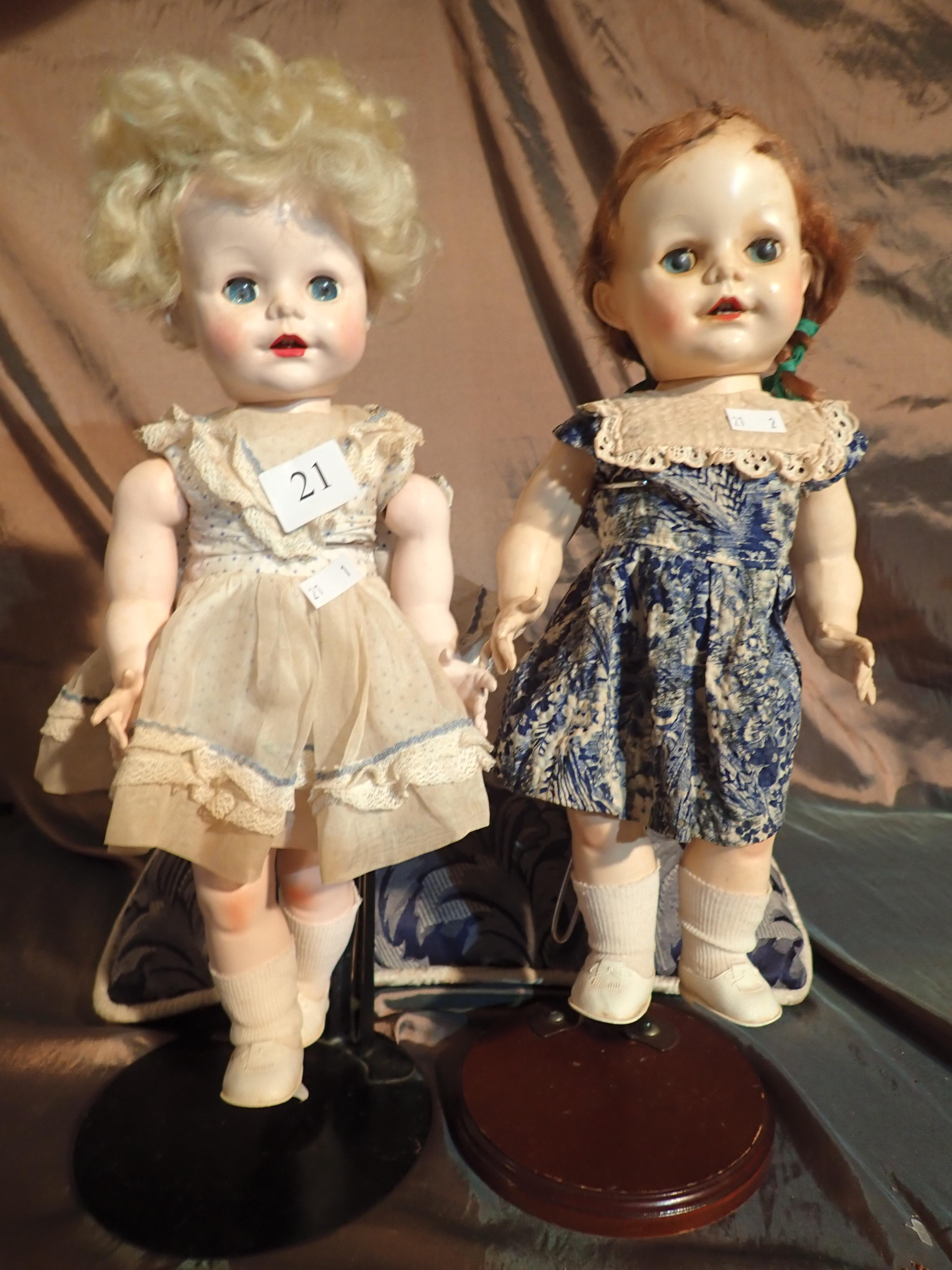 """2 PEDIGREE HARD PLASTIC DOLLS MADE IN ENGLAND (1) IN ORIGINAL DRESS, NEEDS RESTRINGING, IN GOOD OVERALL CONDITION (2) 14"""" LONG IN ORIGINAL DRESS, HAIR BEEN STUCK DOWN, NICE ORIGINAL CONDITION"""