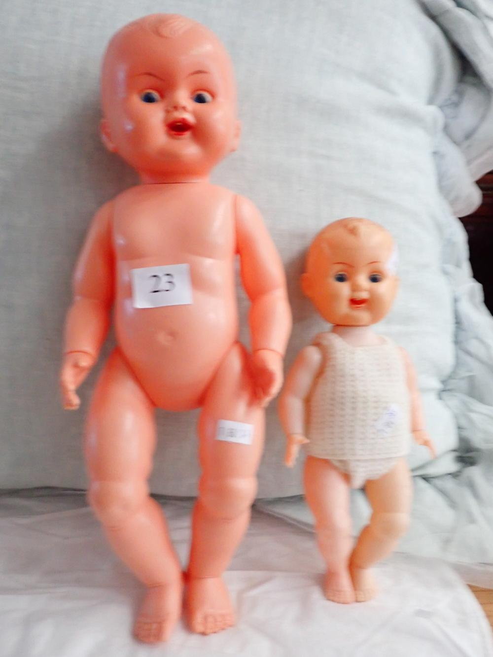 2 CELLULOID DOLLS - OK KADER B3516 DOLL 16 INCH & 1 OTHER B35014 DOLL 10 INCH - EYES & TONGUE MOVE TOGETHER -