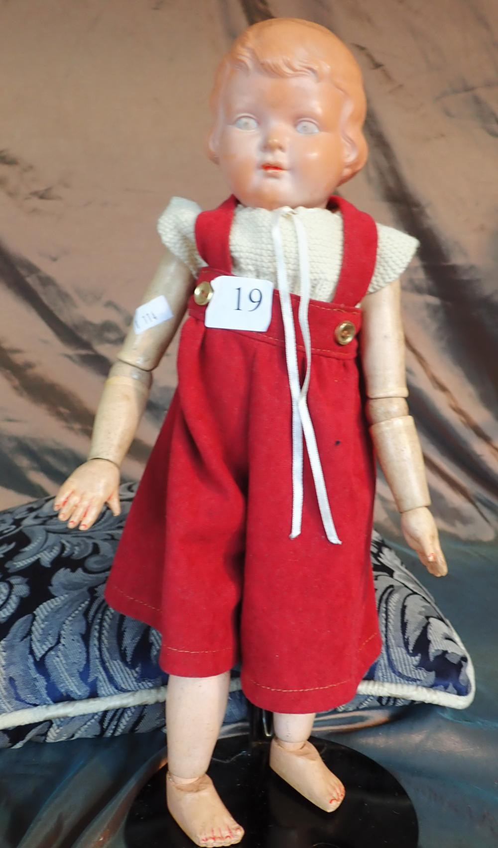 "16"" SCHUTZ MARKE HEART SYMBOL H2 DOLL WITH CELLULOID HEAD, COMPOSITE BODY, ARMS & LEGS, EARLY 1920, FADING TO EYES OTHERWISE GOOD CONDITION"