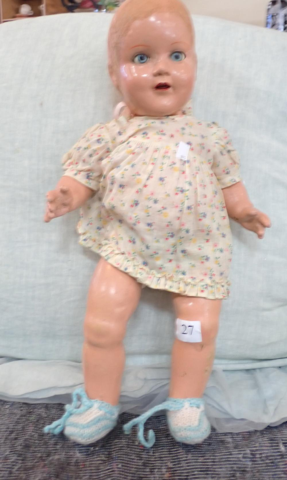 """18"""" VINTAGE ALL COMPOSITION DOLL, ORIGINAL HAIR MISSING, BLUE GLASS SLEEP EYES, BACK HAS SPEAKER, NOT MARKED, MINOR DAMAGE TO LEG - NO WIG"""