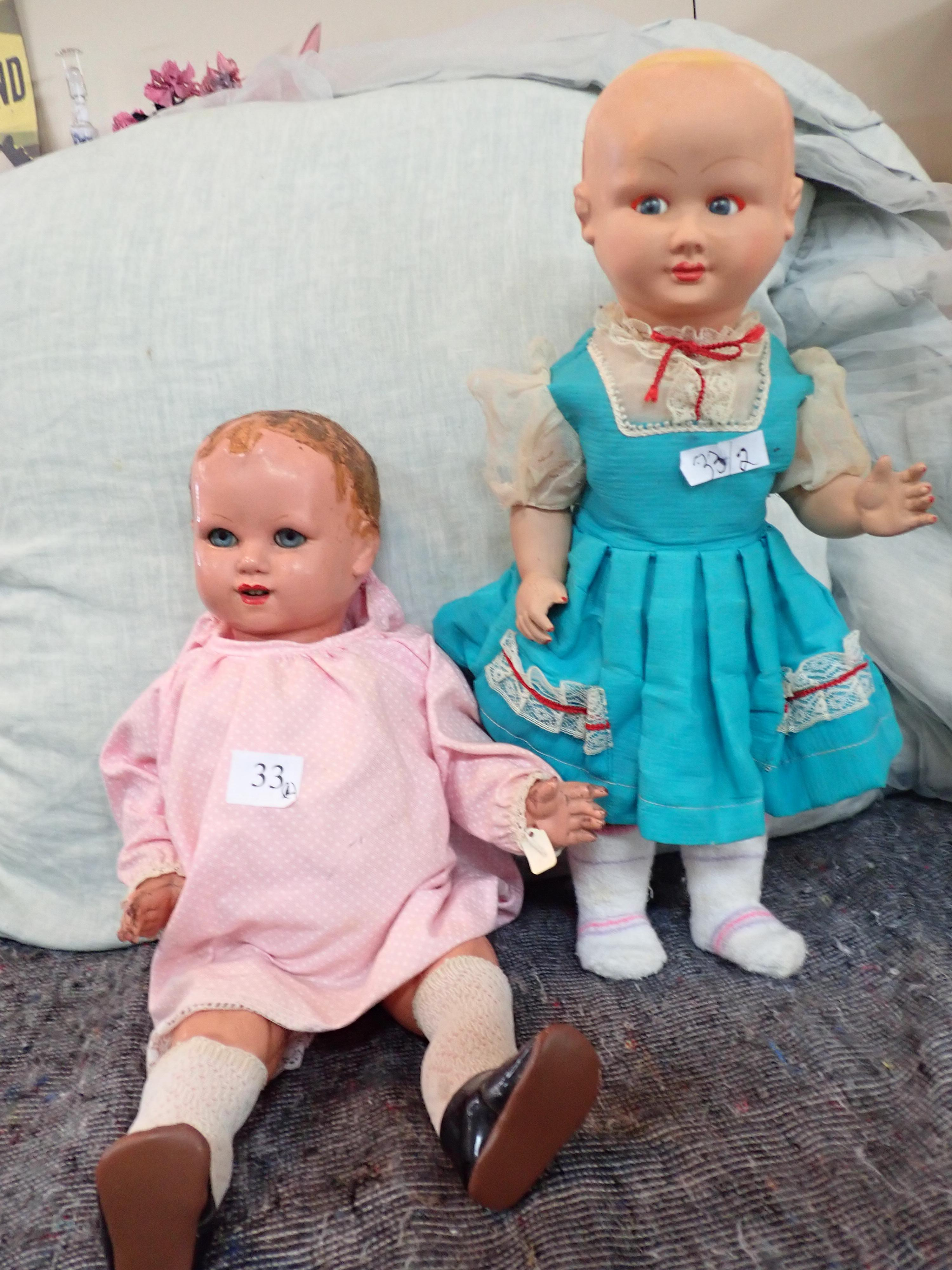 """2 EARLY COMPOSITION DOLLS (1) HAS DAMAGE TO FINGERS AND GLUE RESIDUE TO HEAD, OTHERWISE GOOD FOR AGE, SLEEPING EYES 19"""" HIGH (2) VERNA 17"""" HIGH HARD PLASTIC DOLL, NO WIG, FLIRTY EYES WITH VOICE BOX A/F OTHERWISE IN GC - MADE IN AUSTRALIA"""