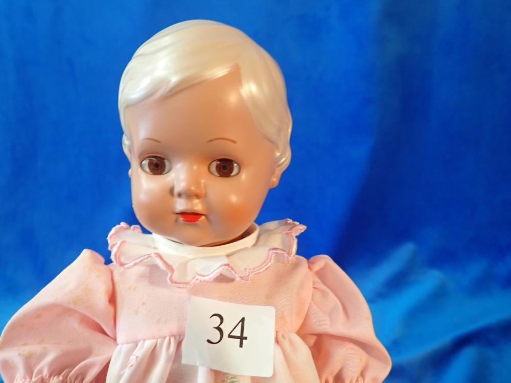 SCHILDKROT/PUPPE CELLULOID DOLL IN ORIGINAL CLOTHES AND WITH ORIGINAL TAG - 12 INCHES LONG - 5002 34 REP