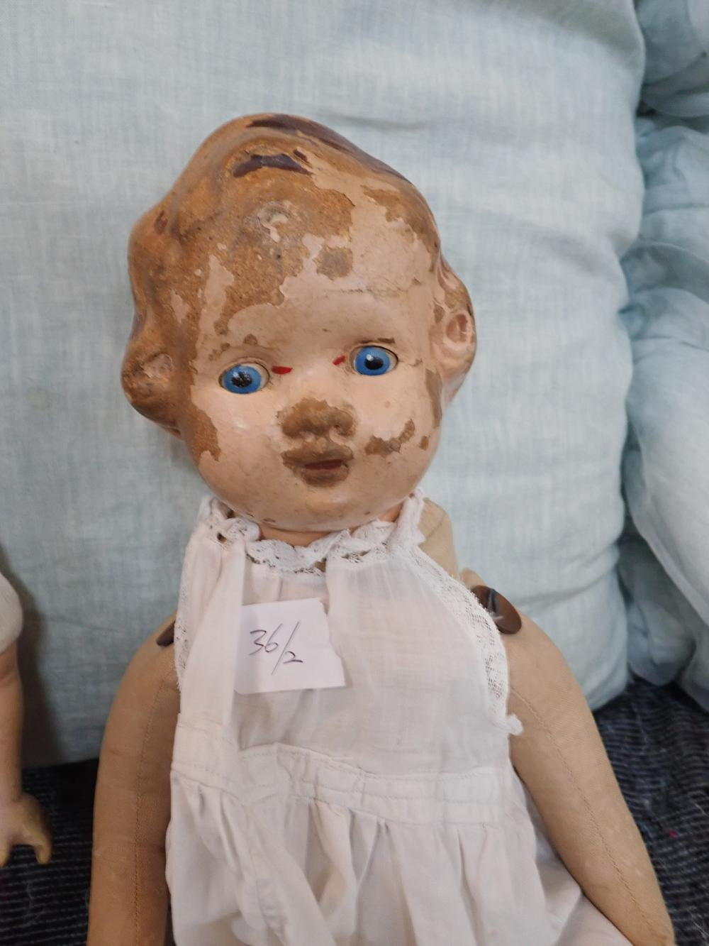 """2 DOLLS (1) 1931 HORSEMAN RELIABLE DOLL, MADE IN CANADA, COMPOSITION DOLL 24"""" HIGH, HEAD DETERIORATING, (2) COMPOSITION DOLL WITH SOFT BODY ARMS & LEGS - SPLIT DOWN HEAD"""