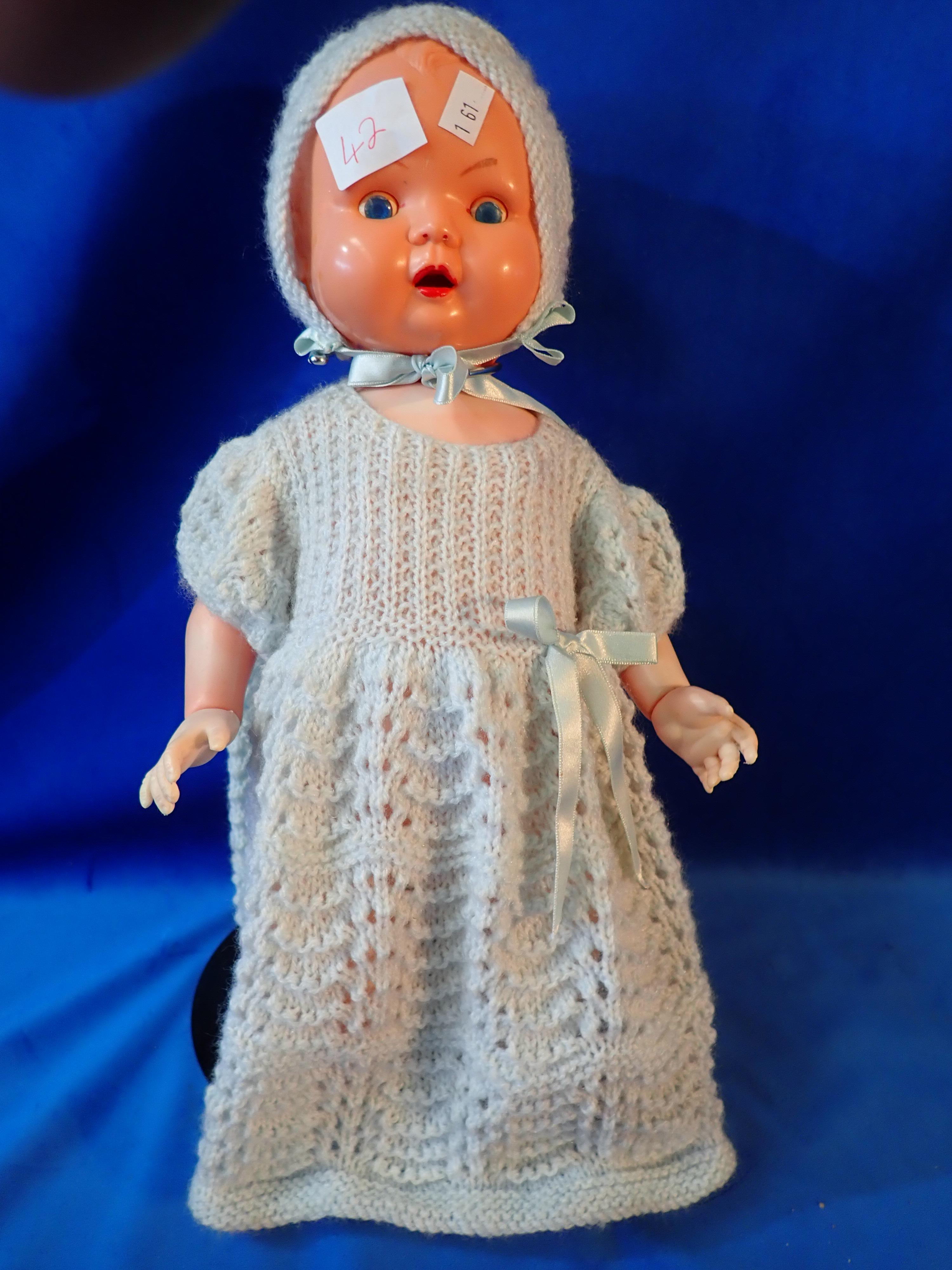 """16"""" LONG OK KADER DOLL B 3516 1/2 BH - MOVABLE BLUE EYES AND TONGUE DISCOLOURATION TO PART OF THE BODY"""