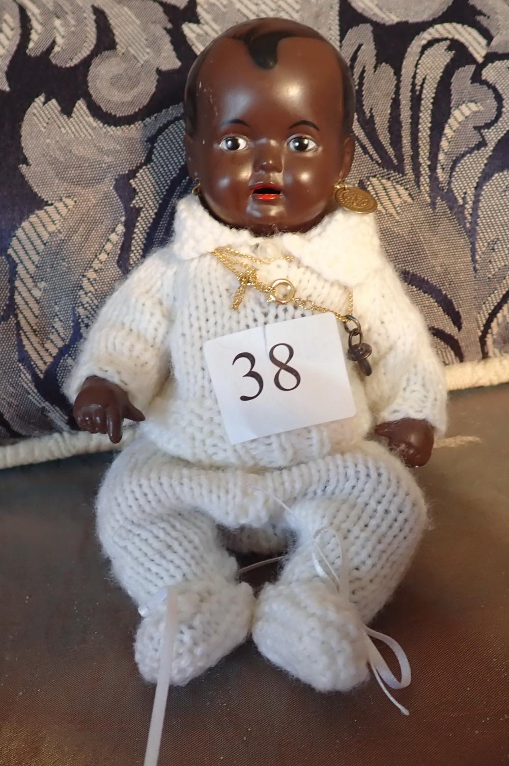 """7"""" VINTAGE SCHILDKAROT TURTLE MARK 16 GERMAN COLOURED DOLL - DRESSED IN A KNITTED TOP AND PANTS"""