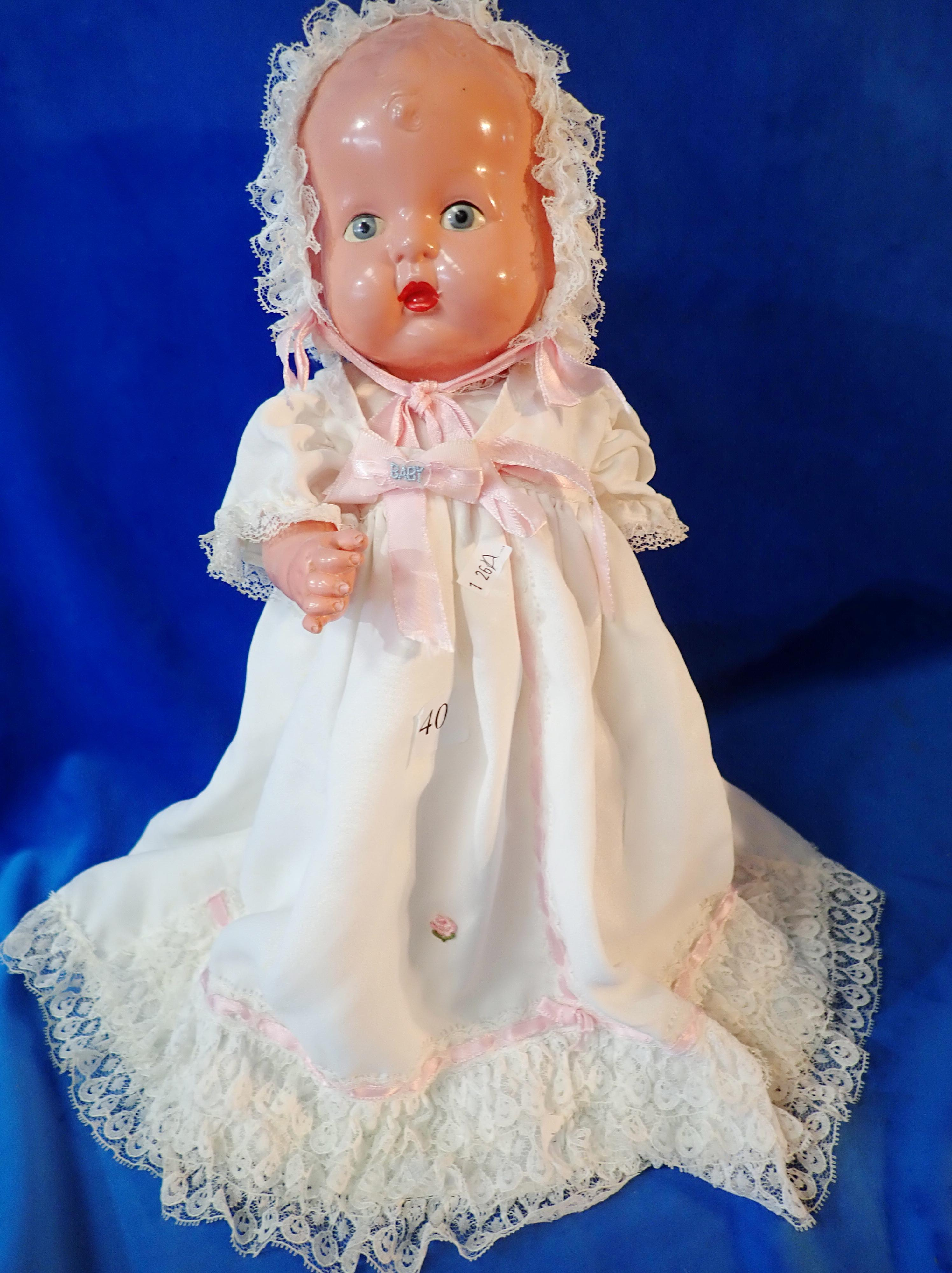"CELLULOID DOLL ""SONNY BABY"" - MADE IN JAPAN - 14 INCH LONG - IN CHRISTENING OUTFIT - INDENT ON LEG AND TUMMY"