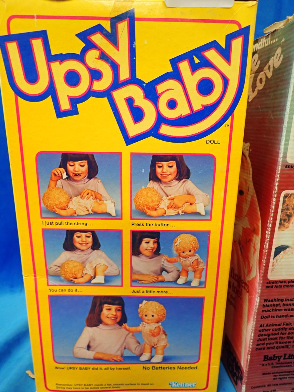 "VINTAGE 1985 UPSY BABY DOLL BY KENNER NIB PULL STRING, SHE STANDS UP IN ORIGINAL PACKAGING 14"" HIGH & VINTAGE BABY LITTLE LOVE BY ANIMAL FAIR IN ORIGINAL BOX FOR GROVER TOYS"